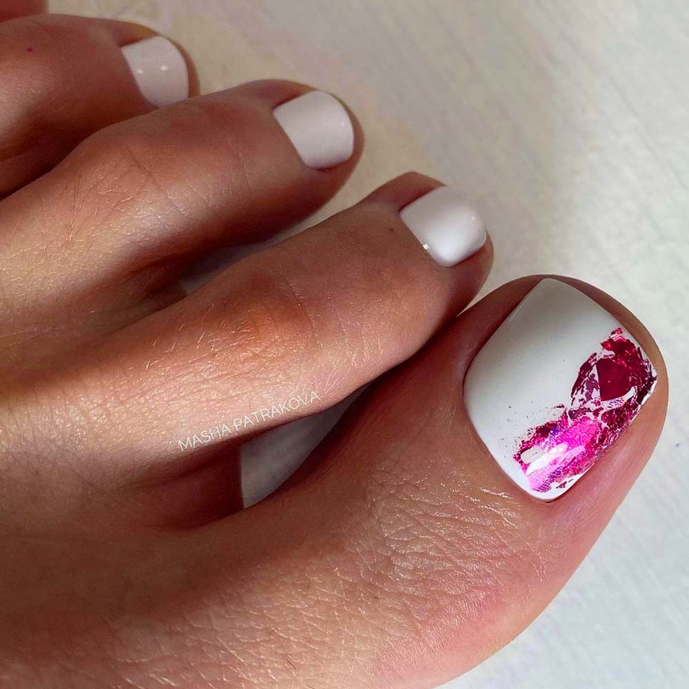 Pink Foil Nail Art For Toes