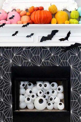 Fireplace Halloween Decorations #fireplace #bats