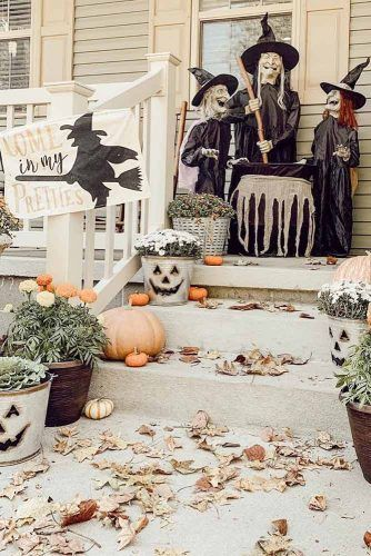 Witch Front Porch Decorations #witch #cauldron