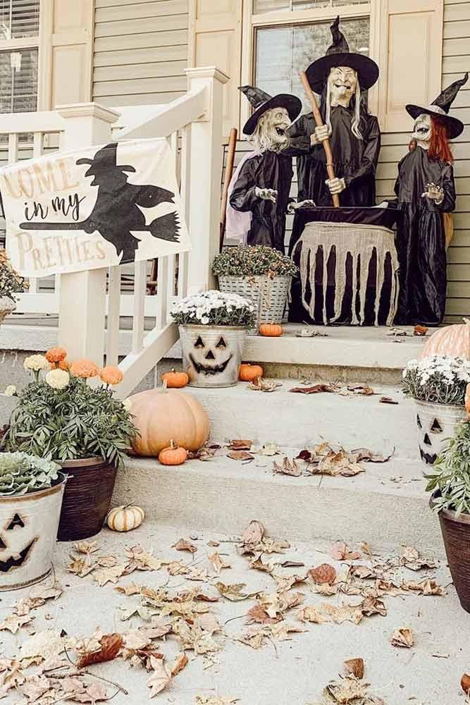 Witch Front Porch Decorations #witch #cauldron