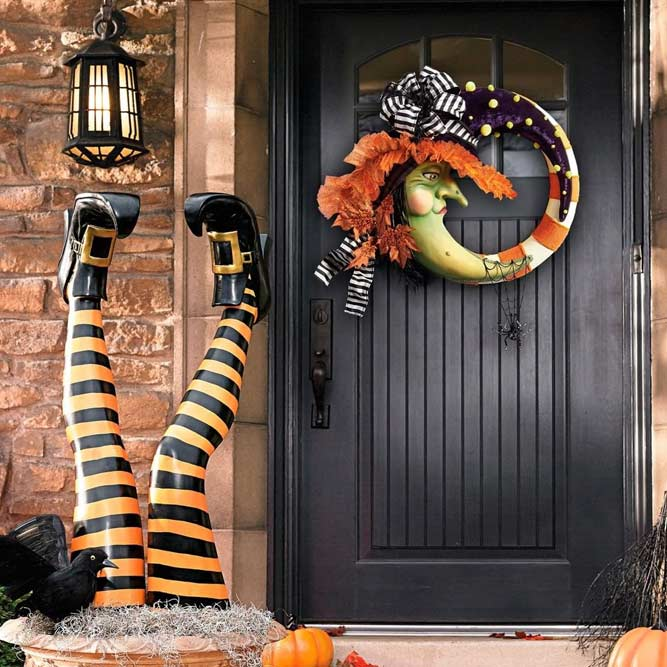 Witch Legs With Witch Wreath Front Porch Decor #wreath #witch