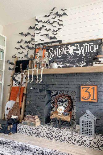 Living Room Halloween Decorations #bats #sign #skeleton