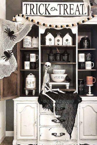 Kitchen Halloween Decorations #skeleton #web
