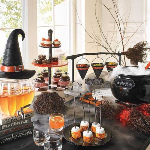 Witch Table Decorations #cauldron #broom #fog