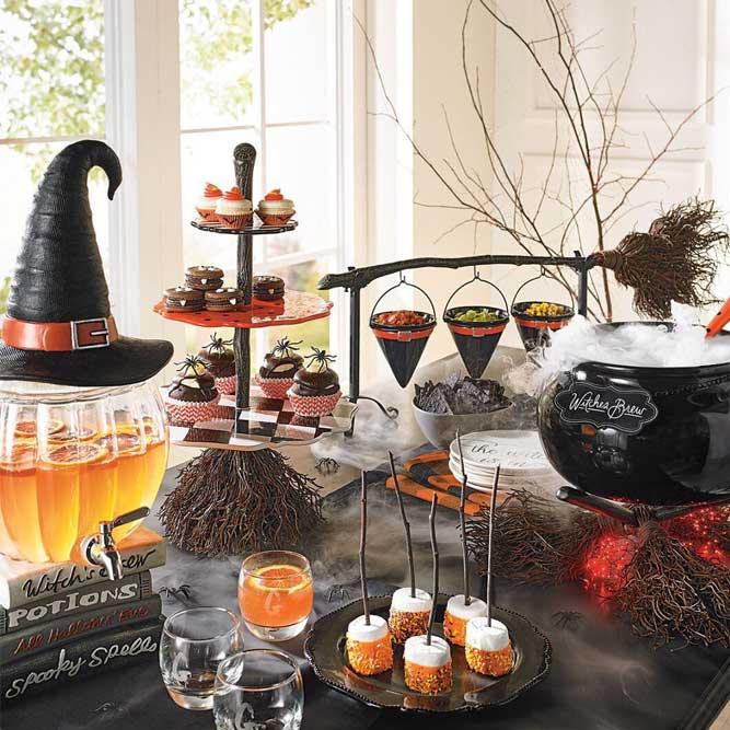 Witch Table Decorations #cauldron #broom #fog