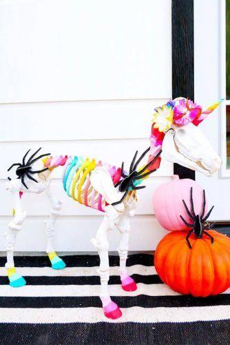 Unicorn Skeleton Halloween Decorations #unicornskeleton #outdoordecorations