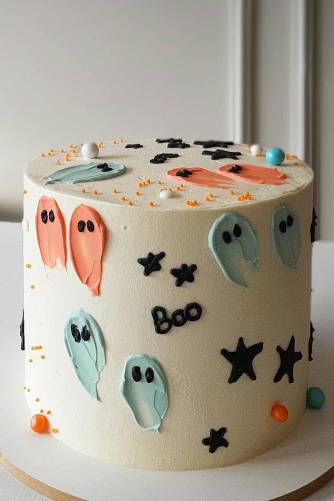 Ghost Halloween Cake Idea #chost #boo #cake