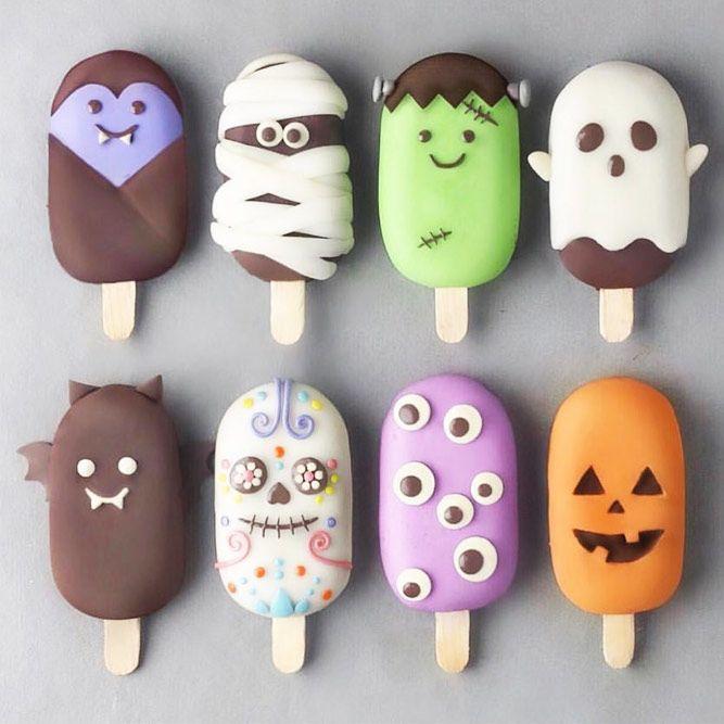 Halloween Ice Cream Pops #bat #skull #monster