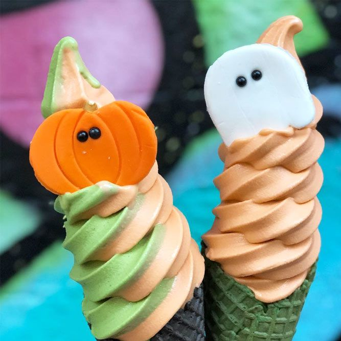 Pumpkin And Ghost Ice Cream Idea #halloweenicecream #pumkin #ghost