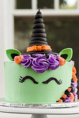Witch Unicorn Halloween Cake #halloweencake #witch #unicorn