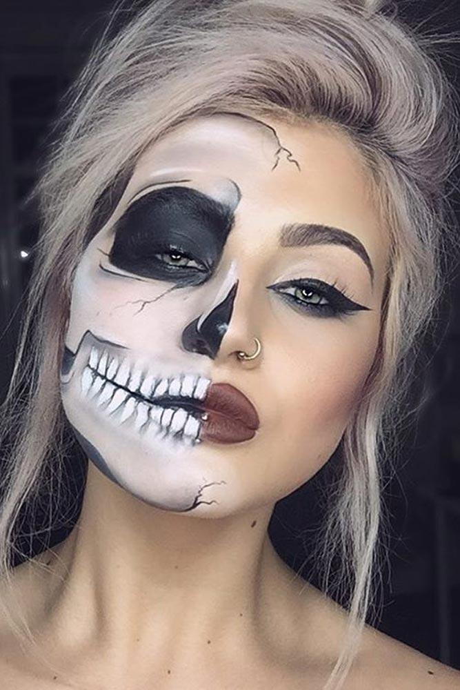 Half-Skull Easy Halloween Makeup
