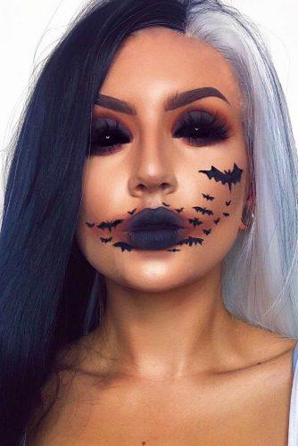 Bats Halloween Makeup Idea #bats #blackeyes