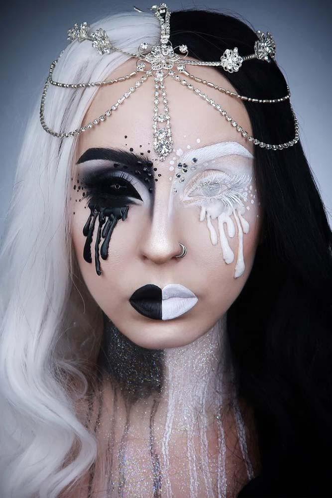 Creepy Black And White Princess Makeup Look #blackside #creepymakeup