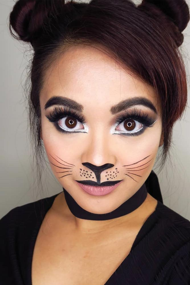 Cute Cat Halloween Makeup Idea #catmakeup