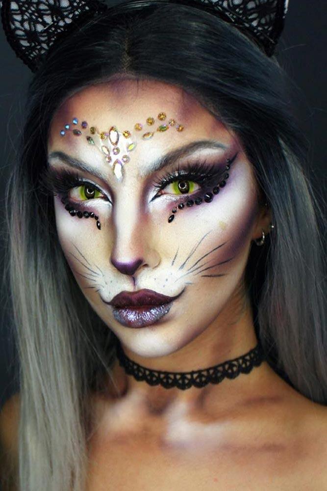 Fantasy Cat Makeup With Crystals #catmakeup #fantasymakeup