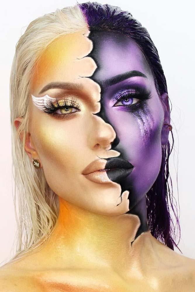 Angel And Devil Halloween Makeup #angel #halfface
