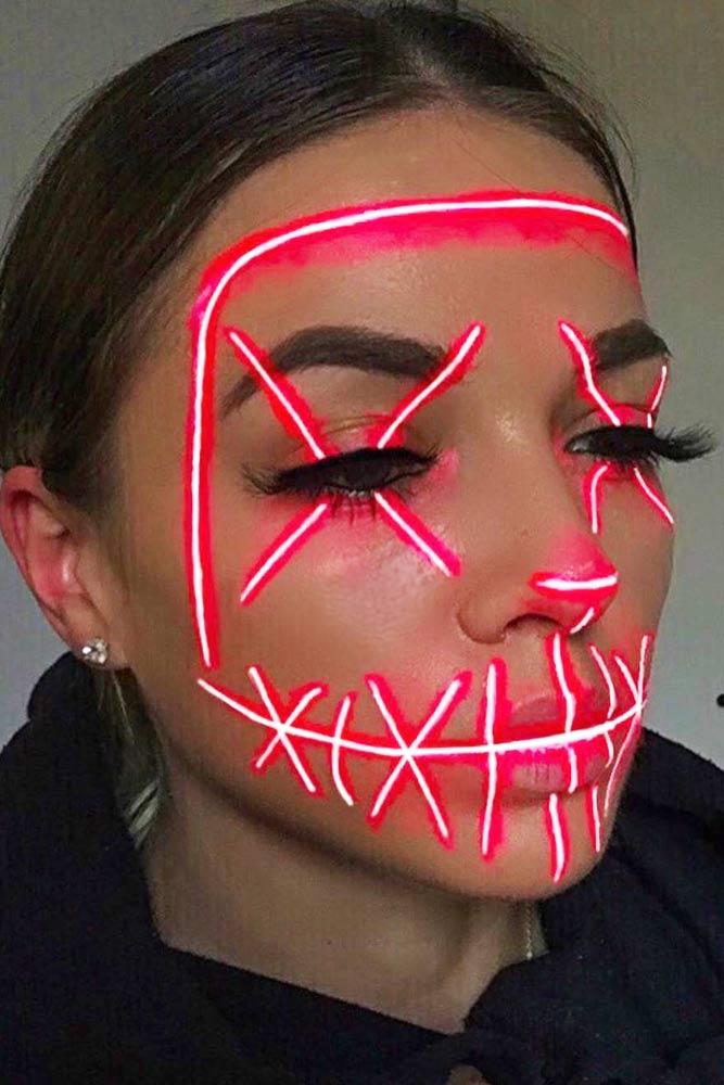 Neon Party Mask Makeup #neonmakeup
