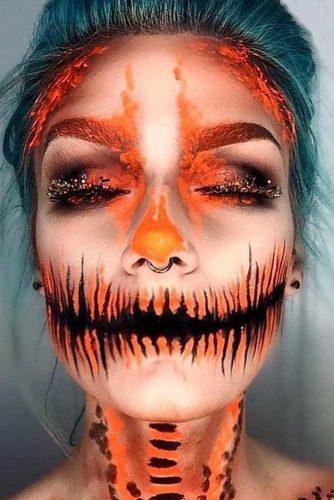 Pumpkin Carving Makeup Idea #pumpkin