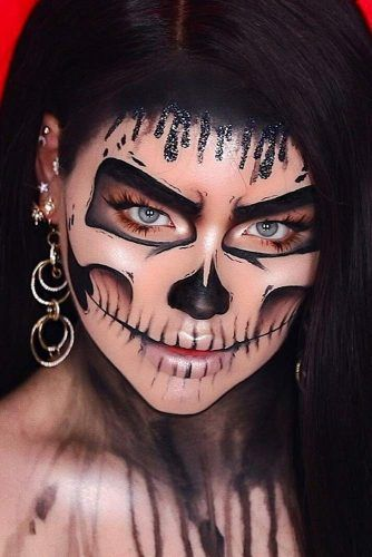 Black Skeleton Makeup Idea #glitterdrops #skeletonmakeup
