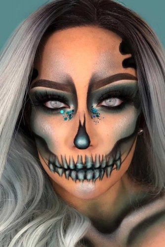 Shimmer Skeleton Makeup Idea #skeleton #skull