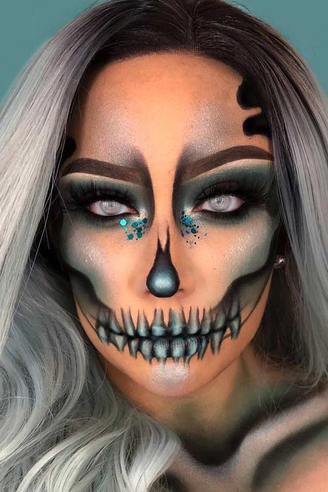 Shimmer Skeleton Makeup Idea #skeleton #skull