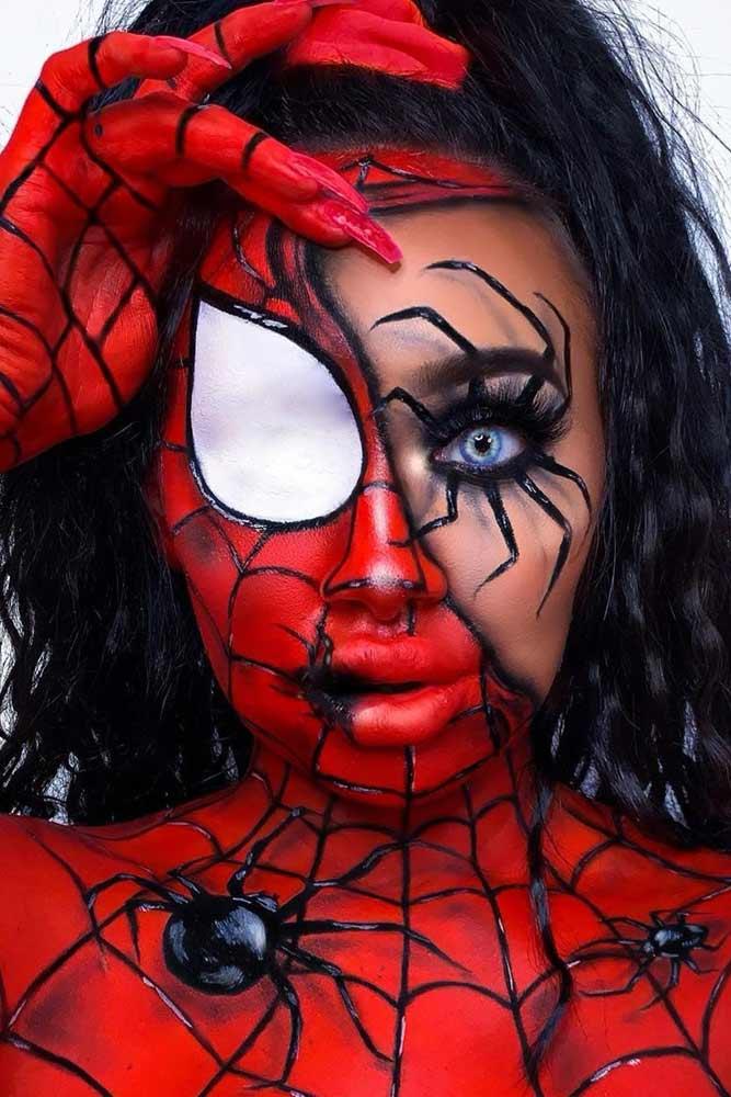 Spider-Man Inspired Halloween Makeup #spiderman #filmcharacter