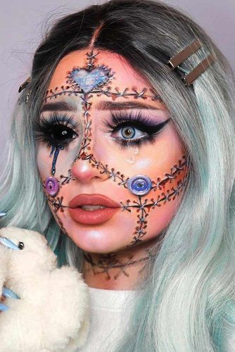 Stitched Doll Make Up Idea #dollmakeup