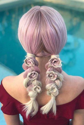 Cute Double Braids With Tiny Roses #doublebraids #pinkhair