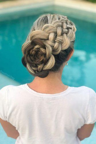 Braided Rose Updo Hairstyle For Long Hair #braidedhairstyles #updohair