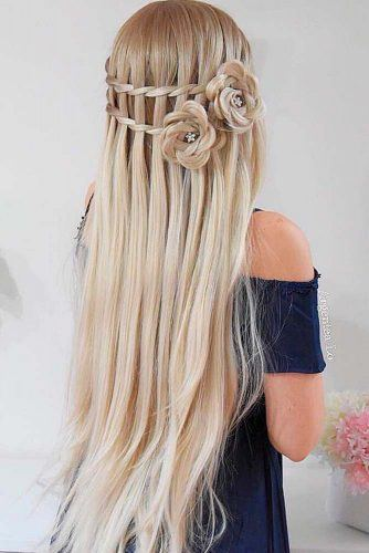 Waterfall Braided Half-Up With Hair Roses #hairroses #waterfallbraids