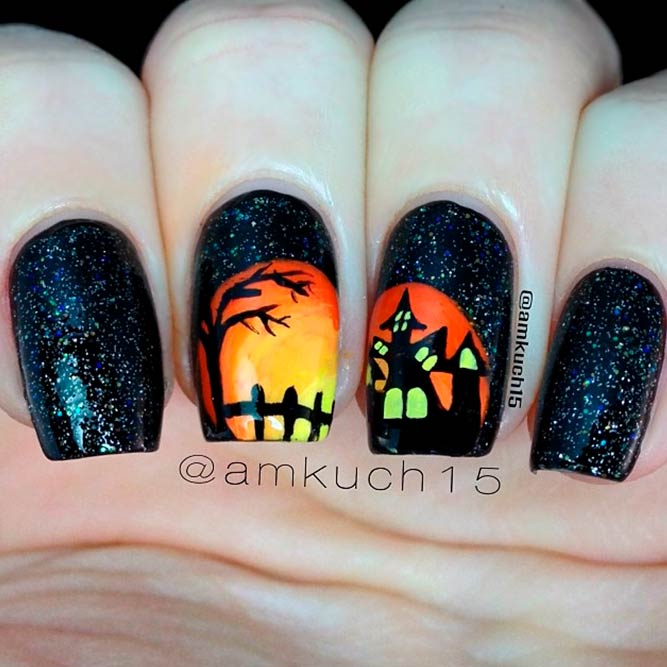 Spooky Haunted House At The Nightn #spookynails #halloweennailart