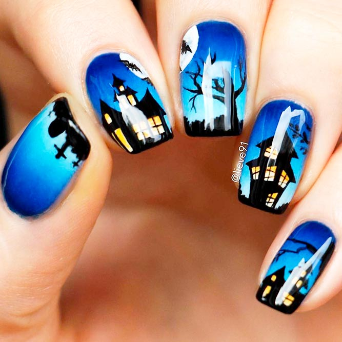 Spooky Haunted Houses In Forest #spookynailart #halloweennailart