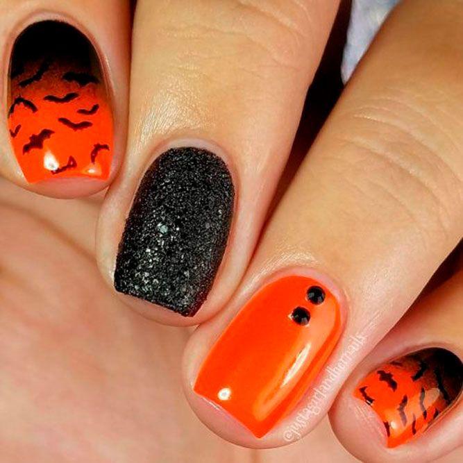 Orange Ombre Nail Art #ombrenails #orangenails