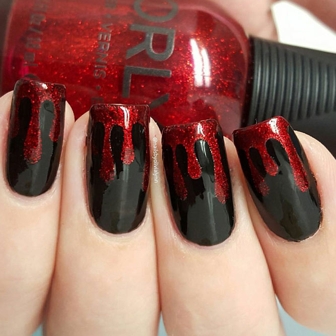 Blood Drip Easy Nail Art