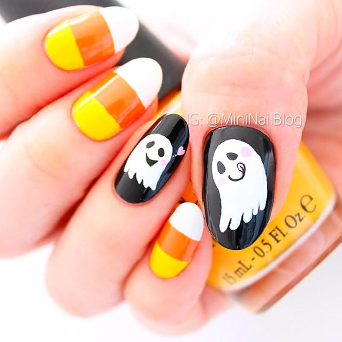 Candy Corn And Ghost Nail Art #cutenails art #brightnails