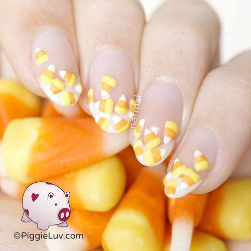 Sweet Candy Corn Tips #cutenailart #halloweennailart