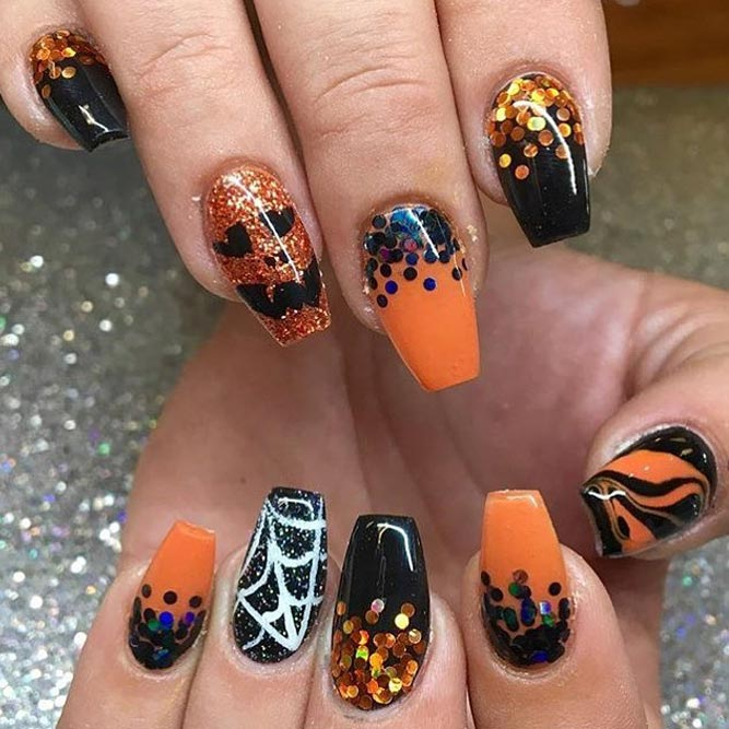 Glam Halloween Glitter Nails