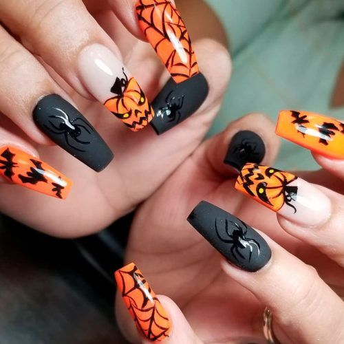 Creepy Halloween Nail Art With Matte Accents #spookynails