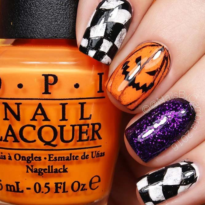 Grungy Jack O' Lanterns Nail Art Idea