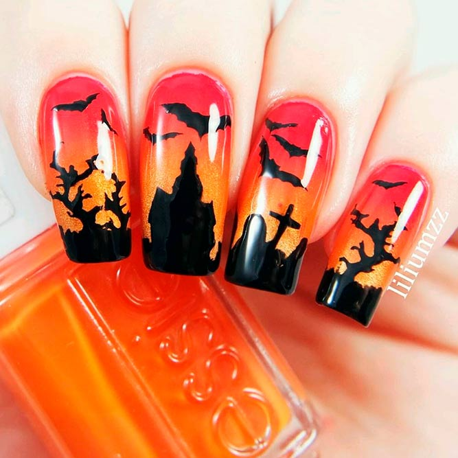 Spooky Haunted House And Bets #spookynails #halloweennailart