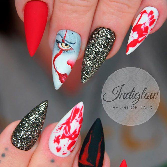 Pennywise Nail Art Design #itmovie