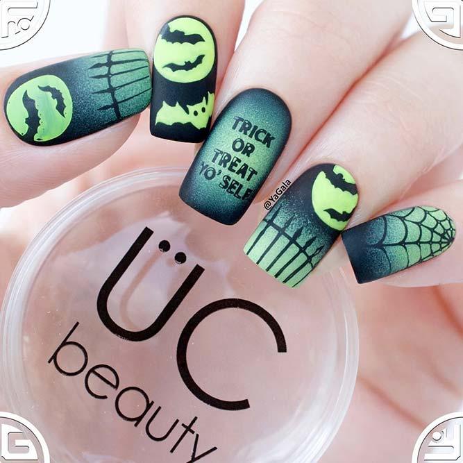 Fluorescent Matte Nail Art