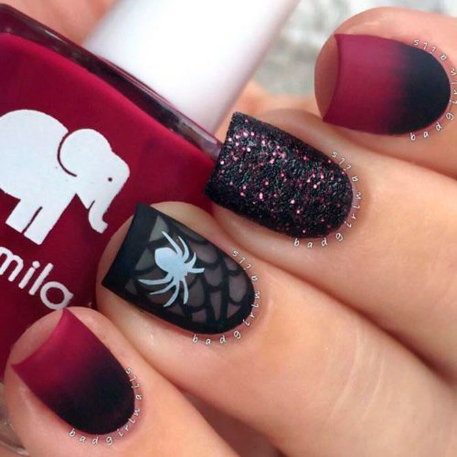 Perfect Spider Web Nail Art Mattenails #ombrenails