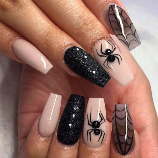 Spider And Web Coffin Nails #coffinnails #longnails