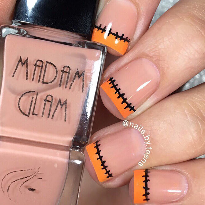 Stitched Manicure Idea for your Fall Nail Designs
