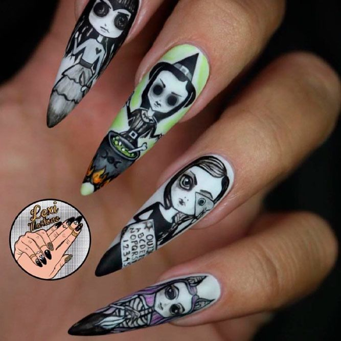 Witches Dolls Nail Design For Long Nails