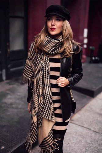 Outfit Ideas With Scarf And Sweater Dress #falloutfit #stylishlook