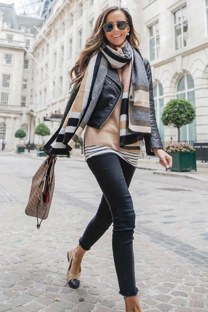 Layered Outfit With Print Scarf #printscarf