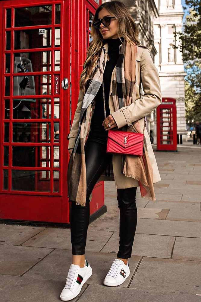 Beige Coat With Striped Scarf Outfit #stripedscarf