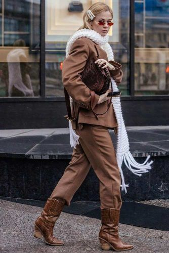 Brown Power Suit With White Knit Scarf #whitescarf